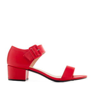 Red faux Leather Low-Heeled Sandals