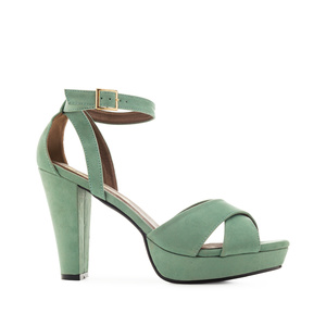 Platform Sandals in Turquoise Suede