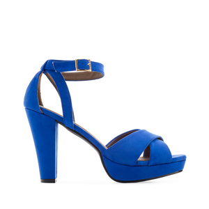 Platform Sandals in Deep Blue Suede