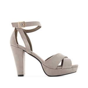 Platform Sandals in Grey Suede