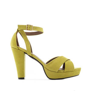 Platform Sandals in Lime-Yellow Suede