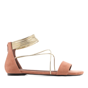 Multi-strap Flat Sandals in Coral Suede