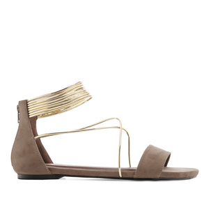 Multi-strap Flat Sandals in Brown Suede