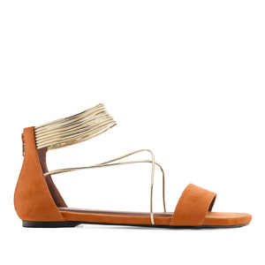 Multi-strap Flat Sandals in Orange Suede