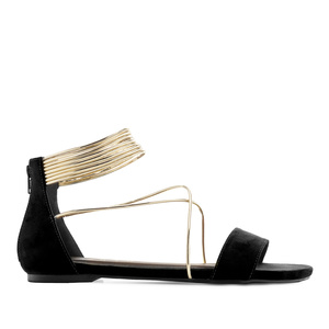 Multi-strap Flat Sandals in Black Suede