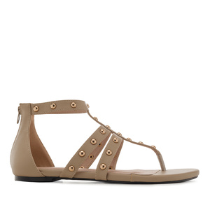 Roman Sandals in Beige faux Leather