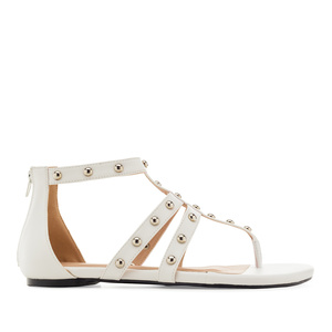Roman Sandals in White faux Leather
