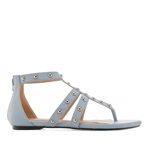 Roman Sandals in Light Blue faux Leather