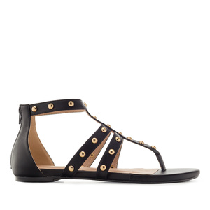 Roman Sandals in Black faux Leather
