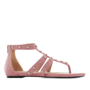 Roman Sandals in Pink faux Leather