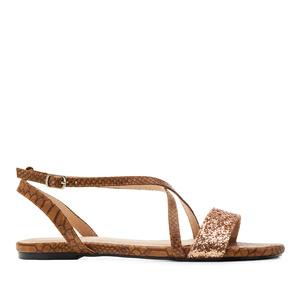 Ravne sandale sa zmijskim dezenom,