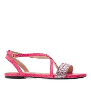 Páskové sandále hadí kůže růžová fuchsie.