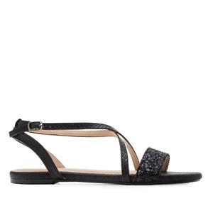 Páskové sandále hadí kůže černá.