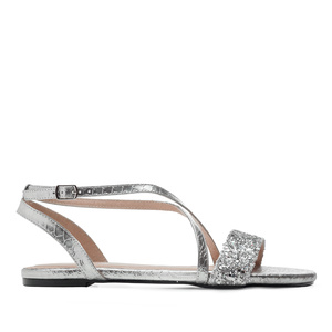 Flat Sandals in Silver Snake Print