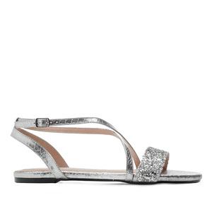 Ravne sandale sa zmijskim dezenom, srebrne