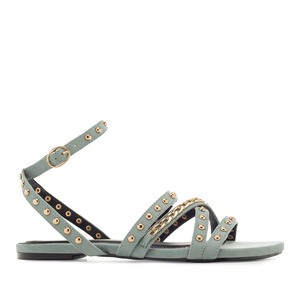 Multi-Stud Sandals in Light-Blue Suede