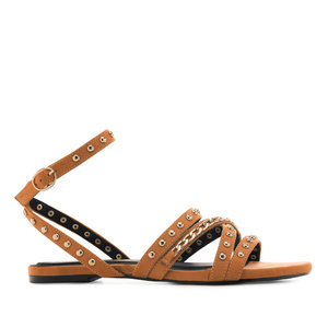 Multi-Stud Sandals in Orange Suede