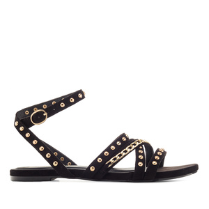 Multi-Stud Sandals in Black Suede