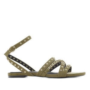 Multi-Stud Sandals in Olive-Green Suede