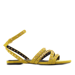 Multi-Stud Sandals in Lime-Yellow Suede