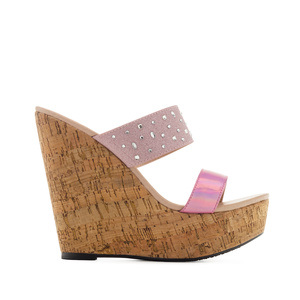 Platform Wedges in Shiny-Pink