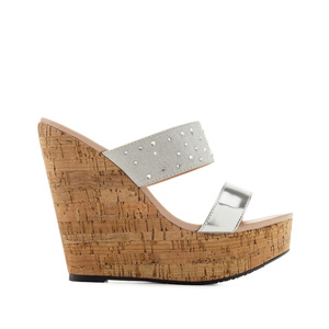 Platform Wedges in Shiny-Silver