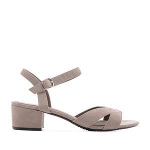 Semišové sandále, barva šedá.