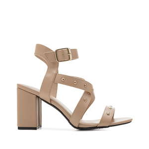 Tack Sandals in Beige faux Leather