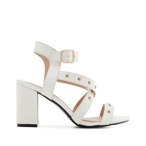 Tack Sandals in White faux Leather