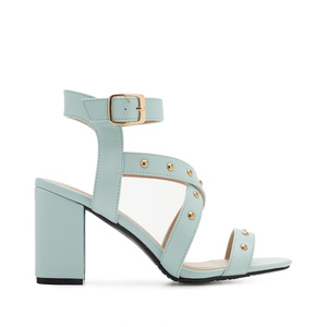 Tack Sandals in Sky-Blue faux Leather