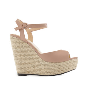 Platform Wedges in Beige faux Leather