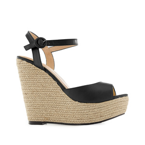 Platform Wedges in Black faux Leather
