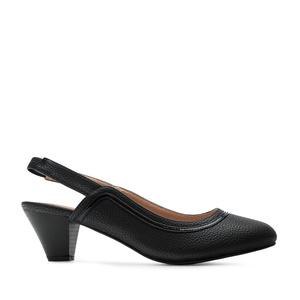 Slingback Shoes in Engraved Black