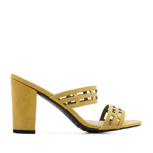 Sandals in Lime-Yellow Suede