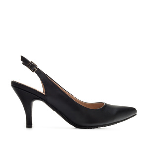 Slingback Shoes in Black faux Leather