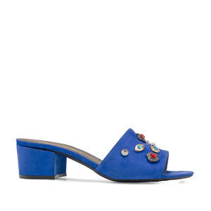 Gemstone Mules in Blue Suede