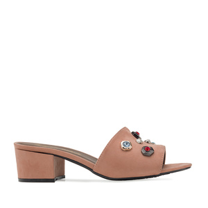 Gemstone Mules in Nude Suede