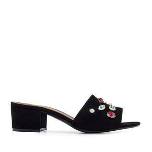 Gemstone Mules in Black Suede