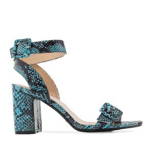 Buckled Sandals in Blue Snake Print