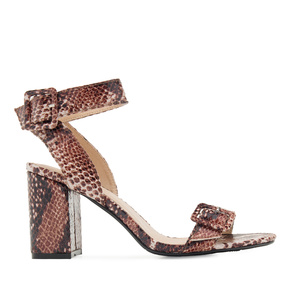 Buckled Sandals in Brown Snake Print