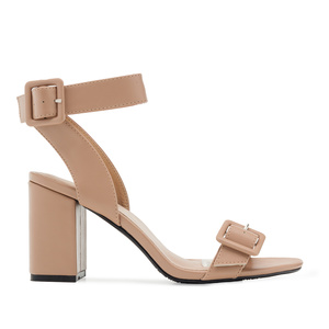 Buckled Sandals in Beige faux Leather