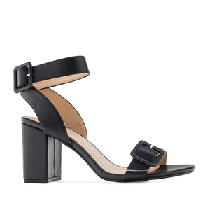 Buckled Sandals in Black faux Leather