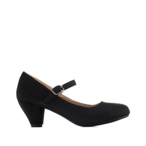 Mary Janes in Black shiny fabric with a wide heel for little girls