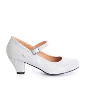 Mary Janes in Silver shiny fabric with a wide heel for little girls