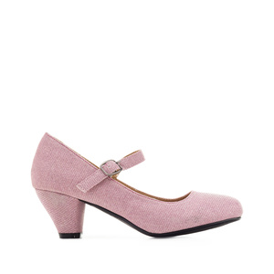 Mary Janes in Pink shiny fabric with a wide heel for little girls