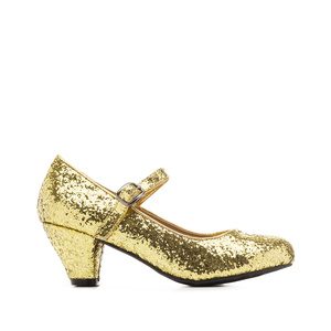 Mary Janes in Gold glitter with a wide heel for little girls