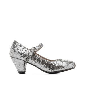 Mary Janes in Silver glitter with a wide heel for little girls