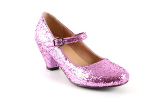 Spangenpumps in rosafarbenem Glitzer-Look.