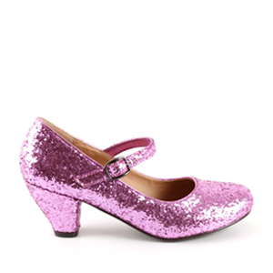 Escarpins Style Mary Jane en Glitter Rose pour Filles à Talon Large.