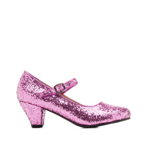 Mary Janes in Pink glitter with a wide heel for little girls
